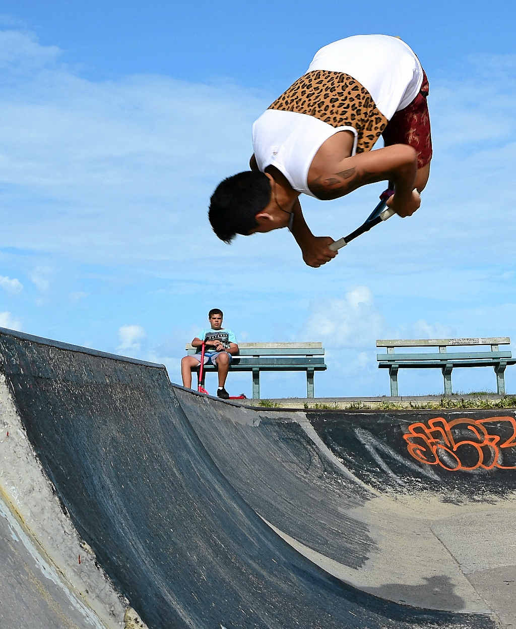 GETTING SOME AIR: Nga-Moke Takiari pulls off a flip at the skate park at Alexandra Headland.
