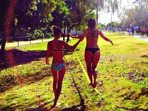 Friends, falls and focus found on a beach slackline
