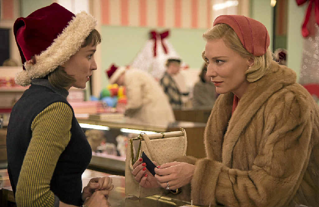 Rooney Mara and Cate Blanchett in a scene from the movie Carol.
