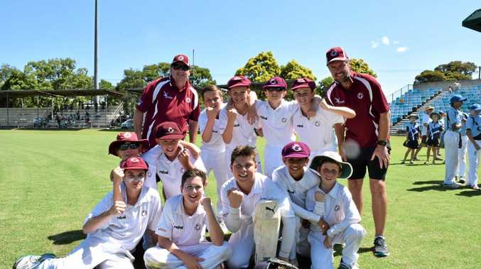 Northern Districts celebrate after beating Manly in the final of the Lismore under-12 cricket carnival at Oakes Oval.