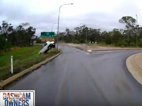 A young driver lost control on a wet and oily roundabout on the outskirts of Hervey Bay.