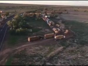 A birds eye view of 119 truck loads of hay