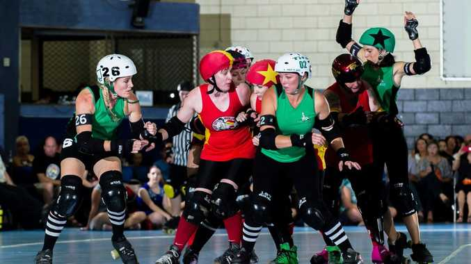 Melissa Willis, centre, is set for some serious action for the Mackay City Roller Maidens. Photo Contributed