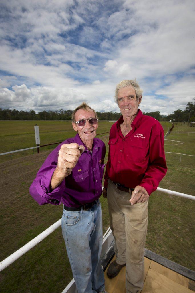 Bob Lisle is the official starter and president of Calliope Jockey Club Jim Neil-Ballantine. Photo Paul Braven / The Observer