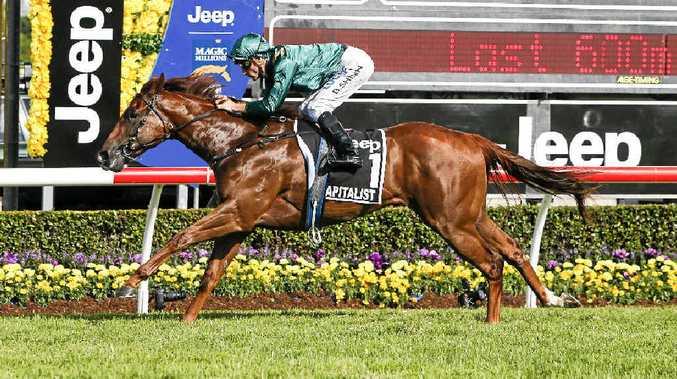 WINNER: Jockey Blake Shinn wins the Magic Millions on Goomburra-bred horse Capitalist at the Gold Coast Turf Club on Saturday.