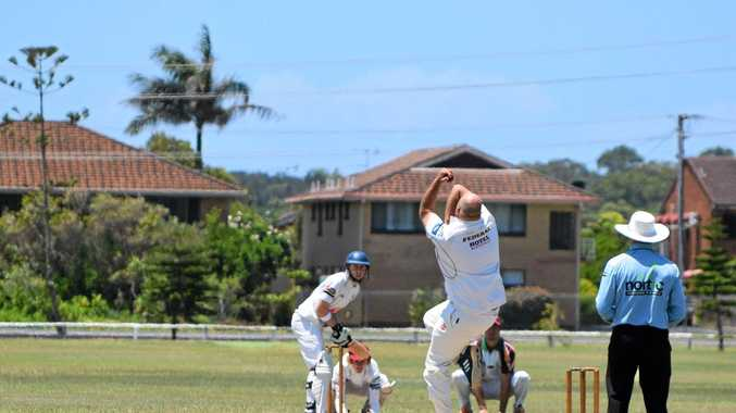 Alstonville bowler Steve Robb about to fire one down the pitch to Tintenbar-East Ballina batsman Callum Carmont during Saturday's match at Kingsford Smith Park in Ballina.