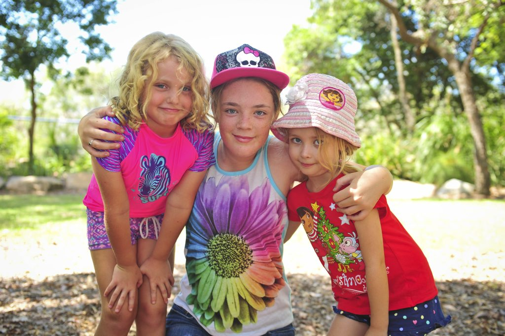 HAPPY DAYS: Chanel Fourie, 6, Haylee Wallis, 11, and Holly Watson, 5, enjoy exploring Canoe Point during their holidays.