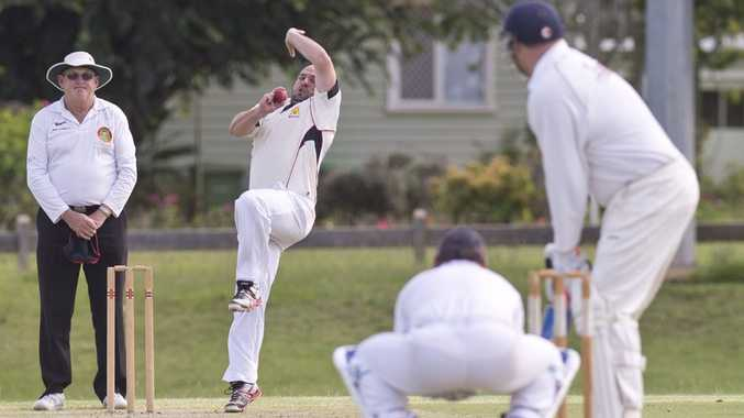 SET TO STRIKE: Troy Gurski bowls for Metropolitan-Easts against University at Harristown Park. Photo: Nev Madsen / The Chronicle