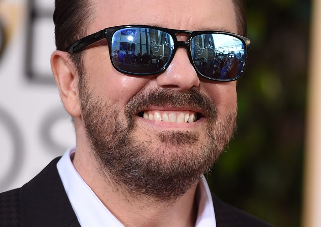 Ricky Gervais arrives at the 73rd annual Golden Globe Awards at the Beverly Hilton Hotel in Beverly Hills, Calif.