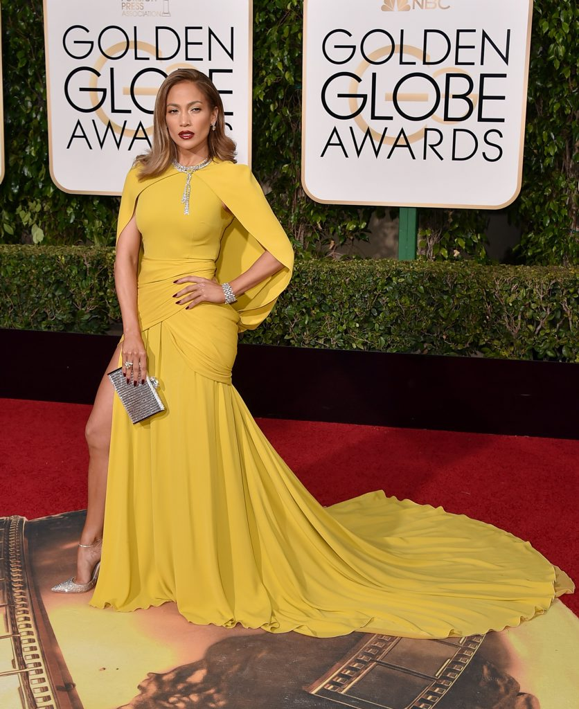 Jennifer Lopez arrives at the 73rd annual Golden Globe Awards at the Beverly Hilton Hotel in Beverly Hills, Calif.