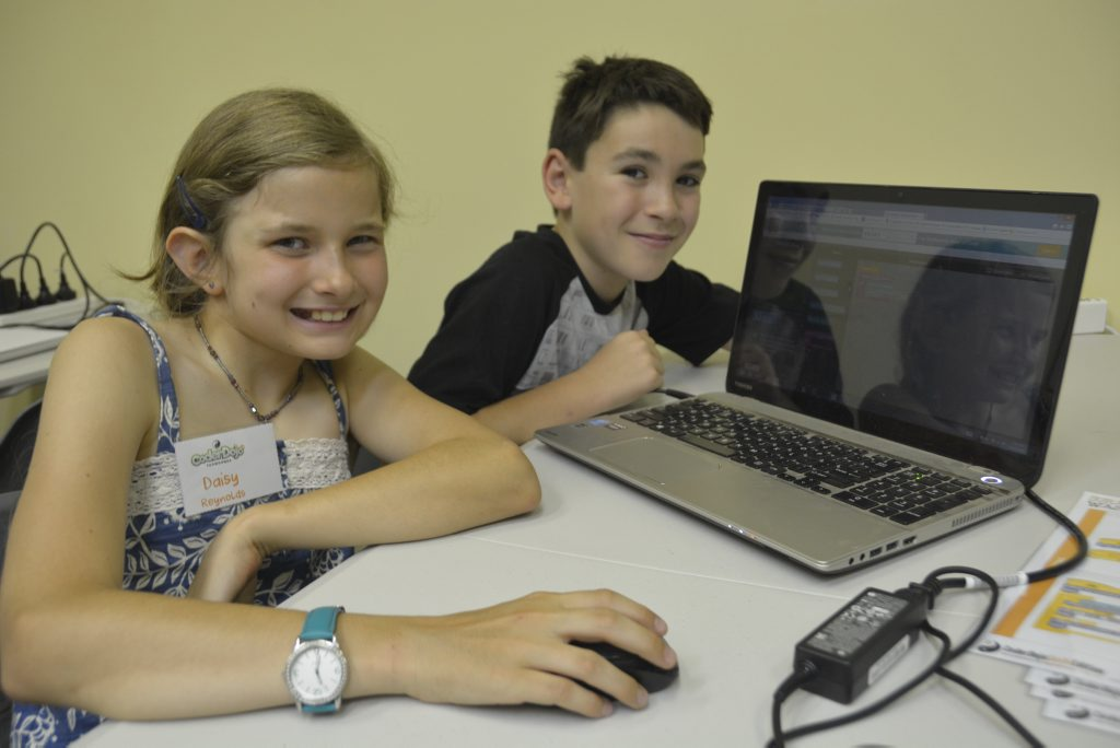 Daisy Reynolds (left), 10 with Connor Haywood, 11 at the CoderDojo Toowoomba classes run through Canvas Coworking.
