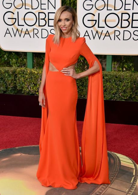 Giuliana Rancic arrives at the 73rd annual Golden Globe Awards at the Beverly Hilton Hotel in Beverly Hills, Calif.