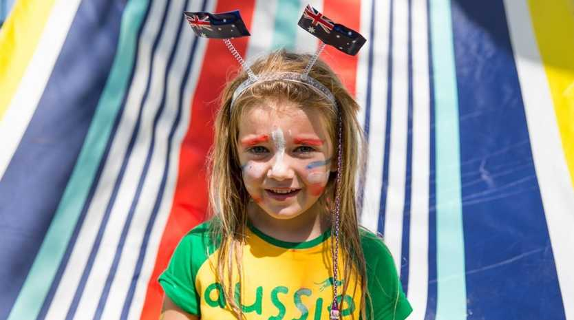 Games organisers from Sonrise Church celebrate what's great about being an Aussie in Clermont last Australia Day. Photo: Contributed