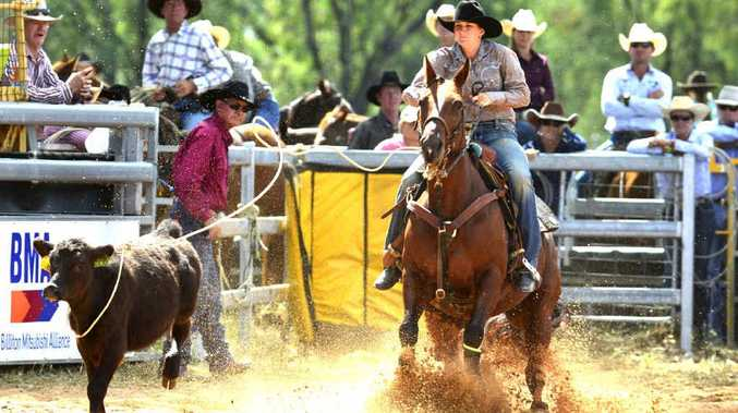 COME HERE: Alton Downs' cowgirl Jorja Iker won both the breakaway roping events at the inaugural Lazy Acres Double Dip over New Year.