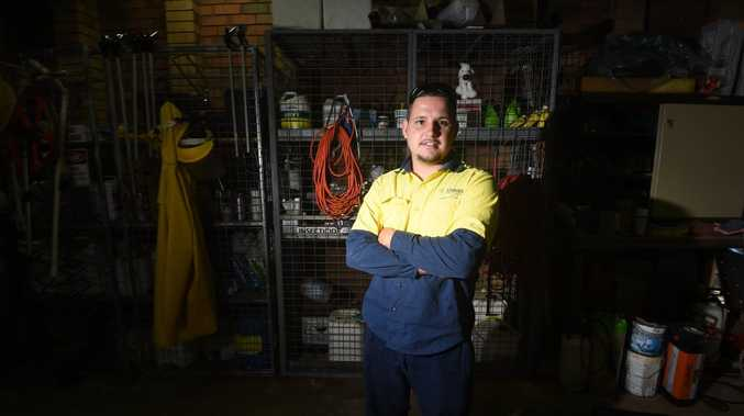 Aboriginal Council trainee Malcolm Saunderson is thrilled to have a job with Lismore Parks and Gardens Depot. Photo Marc Stapelberg / The Northern Star