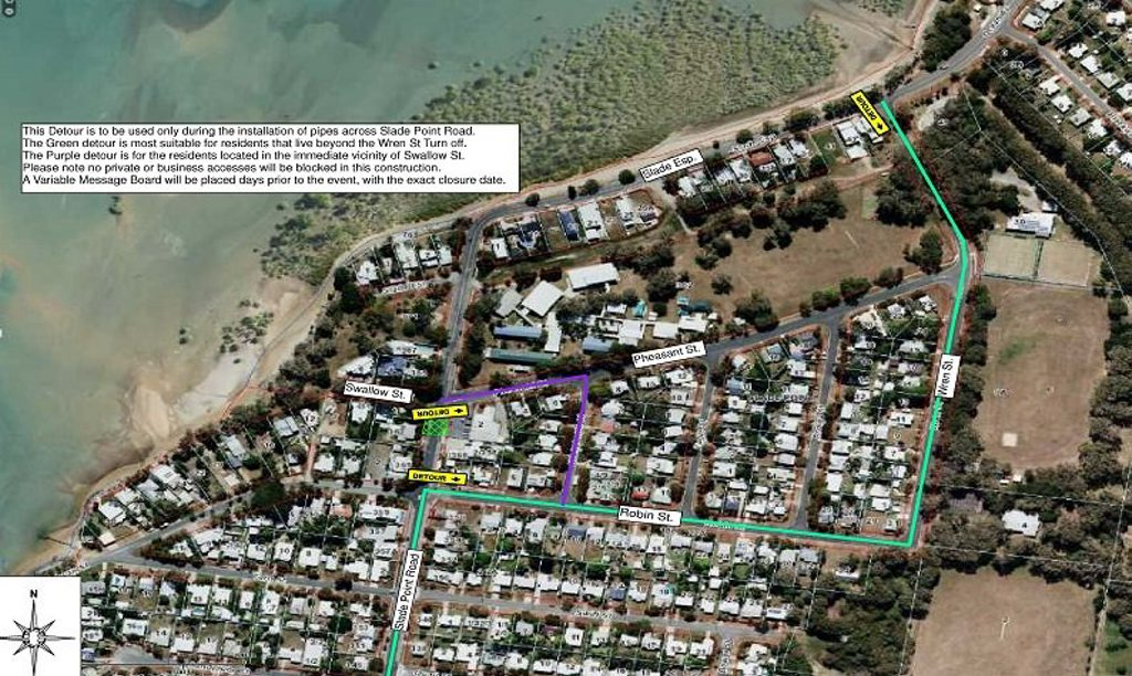 An intersection will be closed at Slade Point while the Mackay Regional Council upgrades drainage Image: Contributed