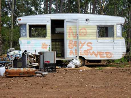 At the permanent camping site at the Redhill 'doof' site at Busby Flat, out of Casino. sits this caravan.