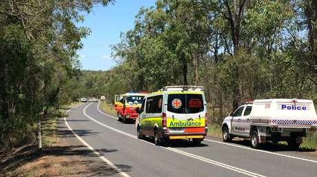 Emergency services at the scene of a fatal traffic crash near Mt Hallen.