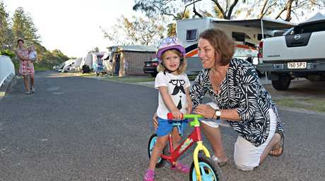 Mooloolaba Beachfront Caravan Park residents meets to discuss the possible closure of the park. Margaret Erbacher has been coming to the park since she was the same age as her 3 year old granddaughter Marcy Erbacher. Photo: Warren Lynam / Sunshine Coast Daily
