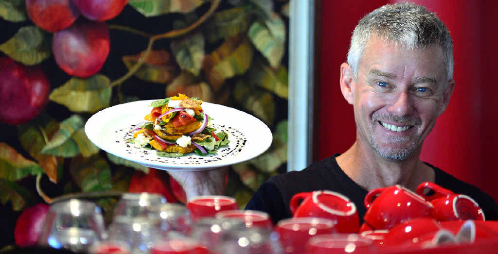 Urban Deli and Cafe manager Richard McLeod says healthy, tasty food like this roast vegetable salad will win local customers at the eatery in Maroochydore's Newspaper Place.