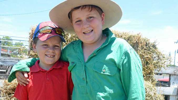 YOUNG ENTREPRENEURS: Cameron and William Reardon successfully sold their three chickens at the pig and calf sale.