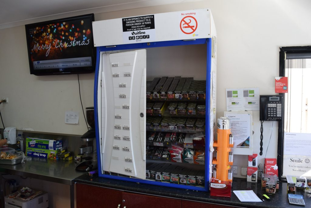 A cigarette cabinet was damaged during a break-in at the BP Tanawha service station.