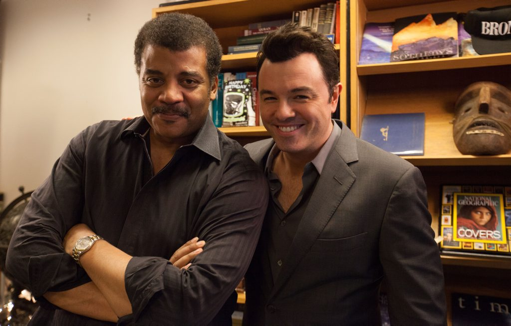 Star Talk host Neil deGrasse Tyson pictured with Family Guy creator Seth MacFarlane.