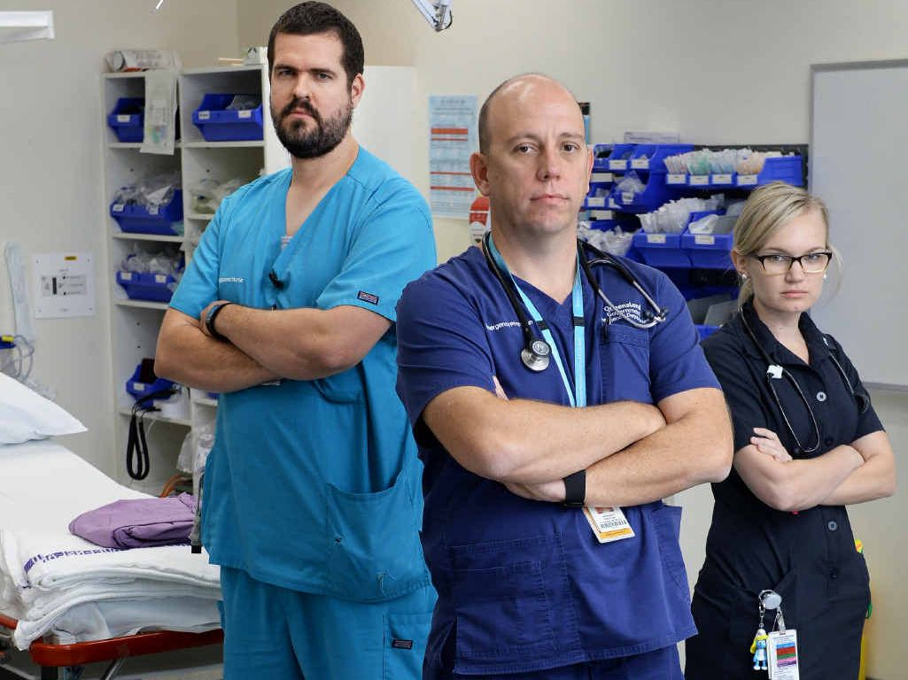 NO MORE: Ipswich Hospital emergency department staff (from left) Matthew Bryant, Dr Daniel Bitmead and Laura Harrison.