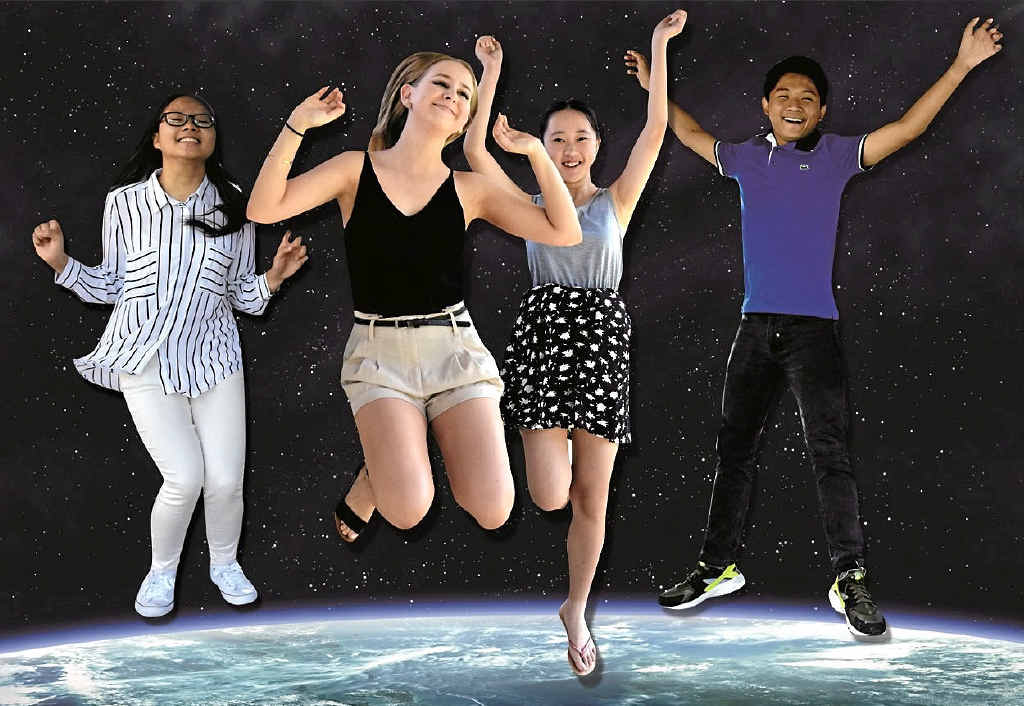 OVER THE MOON: Mackay State High School school leavers Tran Huynh, Tea Vella, Alice Liu and Tom Talocod jump for joy at getting their preferences for university study.