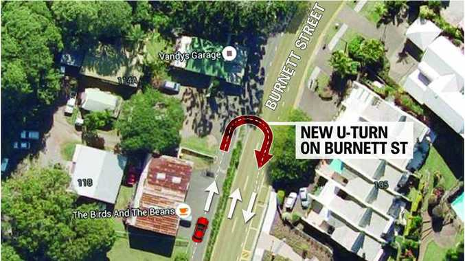 U-TURN PROPOSAL: Drivers exiting the facility could perform a U-turn, not currently available anywhere else on Burnett St.