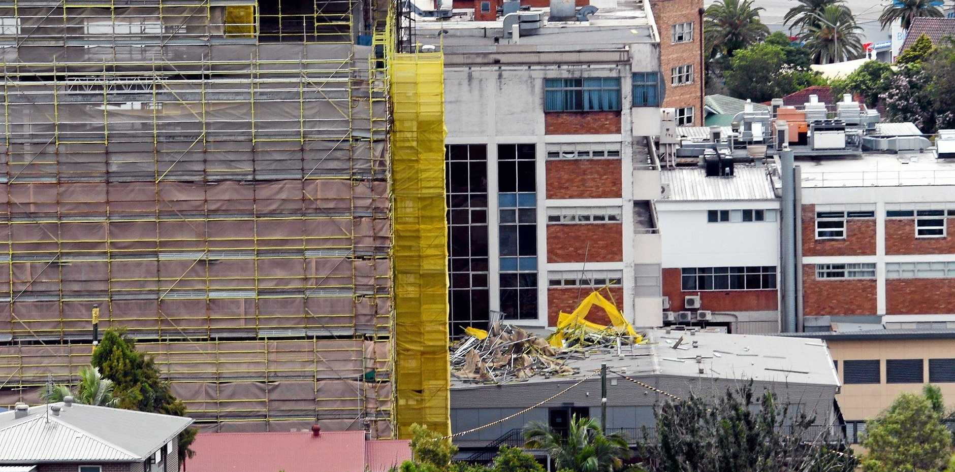 Scaffolding fell from the building site at Lismore Base Hospital on to the temporary maternity unit during a storm in December. The ward may be too damaged to fix.