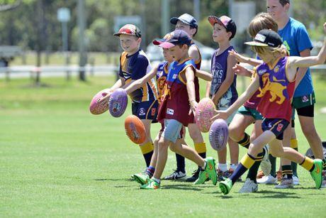 Brisbane Lion's open training session and junior clinic. Junior Sport. January 13, 2016 Photo Patrick Woods / Sunshine Coast Daily