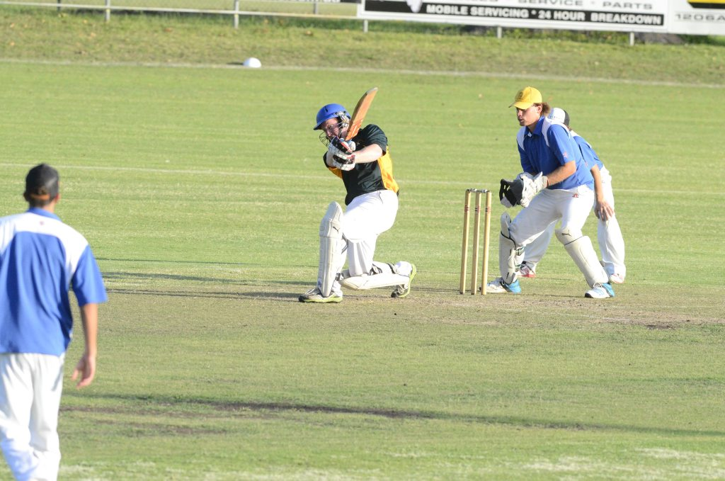 Brad Inmon batting for Westlawn in the Cleavers Mechanical 30-over Night Cricket match between Harwood and Westlawn at McKittrick Park on Wednesday, 13th of January 2016.Photo Bill North / Daily Examiner