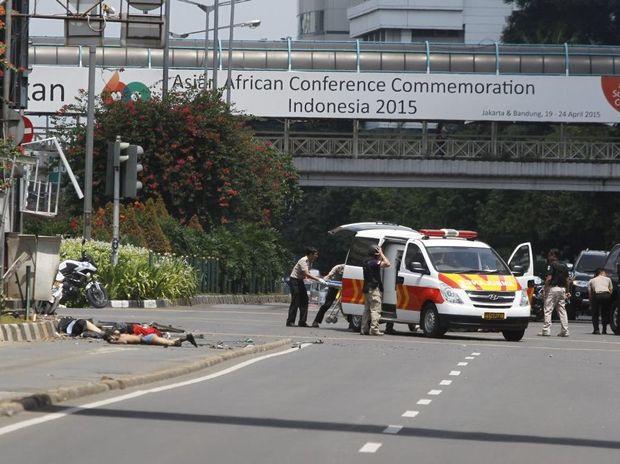The scene of a bomb blast in Jakarta, Thursday, Jan. 14, 2016.