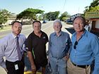 Proposed uturn access on burnett Street, Buderim for the new aged care development site. (LtoR) Division 6 Councillor Christian Dickson, owner of Vandy's Garage Glen Grant, president of Buderim Safe Brian McBride and State member for Buderim Steve Dickson. Photo Patrick Woods / Sunshine Coast Daily