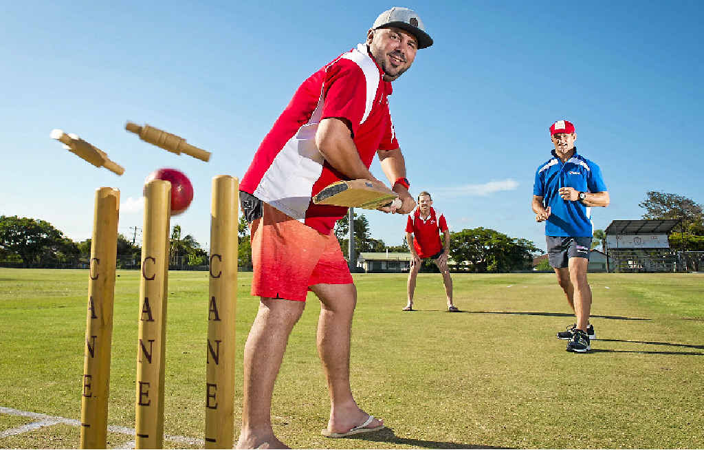 AUSTRALIA DAY TRADITION: Mick Silvester, Aaron Barrett and Jason Batchelor are geared up for the Double Wicket Cricket game.