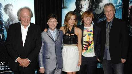 From left, actors Michael Gambon, Daniel Radcliffe, Emma Watson, Rupert Grint and Alan Rickman attend the premiere of