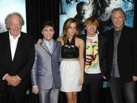 From left, actors Michael Gambon, Daniel Radcliffe, Emma Watson, Rupert Grint and Alan Rickman attend the premiere of