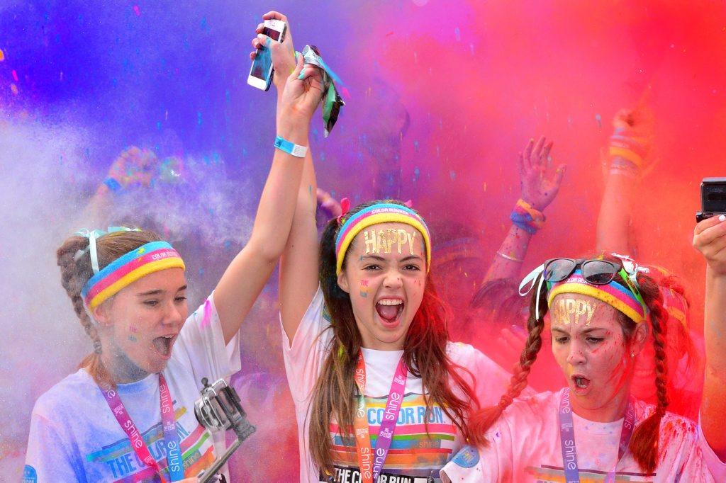 Image for sale: 2016 colour run. Kianni Joiner, 13, Bliss Hunter, 12, and Lara Cordwell, 13. Photo: John McCutcheon / Sunshine Coast Daily