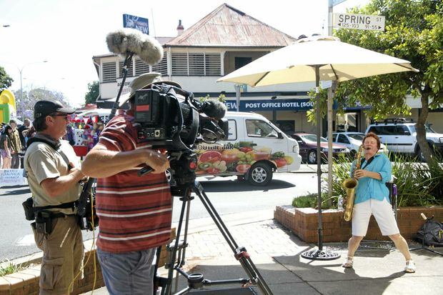 ABC's Back Roads crew filming the Culture On The Clarence festival in South Grafton, which featured in the controversial part of Monday night's program.