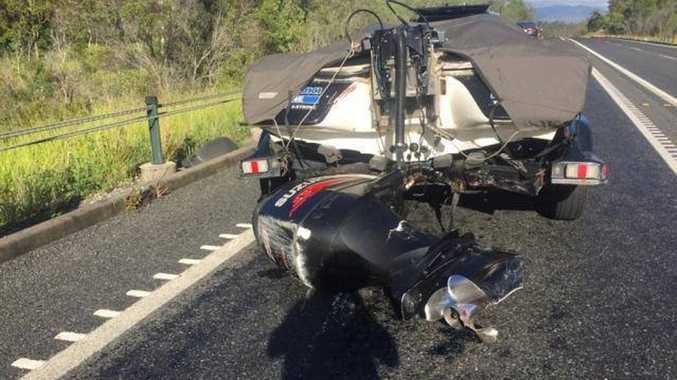B.A.S.S. Australia Nation Pro angler Barry Reynolds was on his way to Awoonga Dam yesterday when his Skeeter 21i was hit from behind. Contributed.