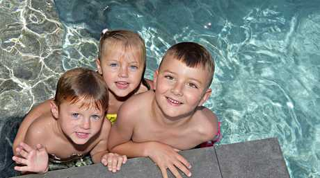 Pool party to raise awareness for The House The Coast Built at Flame tree Pockett and acknowledge PoolFab who have contributed over $30,000 for the pool and landscaping. Taj Wilson, Mali Wilson and Riley Woodward enjoy the pool. Photo: Warren Lynam / Sunshine Coast Daily