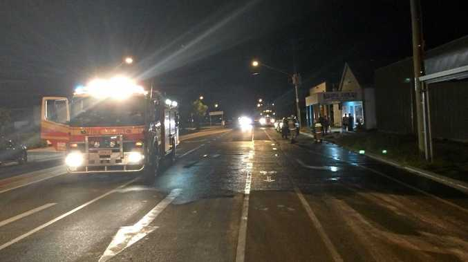 Roma Fire and Police cleaned up a spillage near the traffic lights tonight.