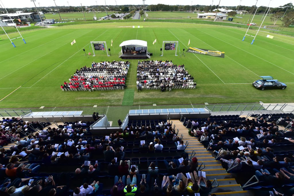 LAID TO REST: James Ackerman's funeral was held at Sunshine Coast Stadium. A petition is calling for the stadium, or some part of it, to be renamed in his honour.