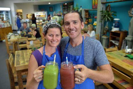 Tawny and Matt Halligan together with Matt's brother, sister and mother run a booming vegan cafe Nurcha and Coast wellness centre on the coast. Photo Patrick Woods / Sunshine Coast Daily