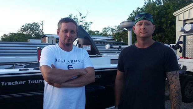 Mates Wayne Greenstreet and Tim O'Dea had their rods and $2500 worth of lures stolen from their boat before the Awoonga Dam barramundi fishing competition at the weekend. Photo Contributed