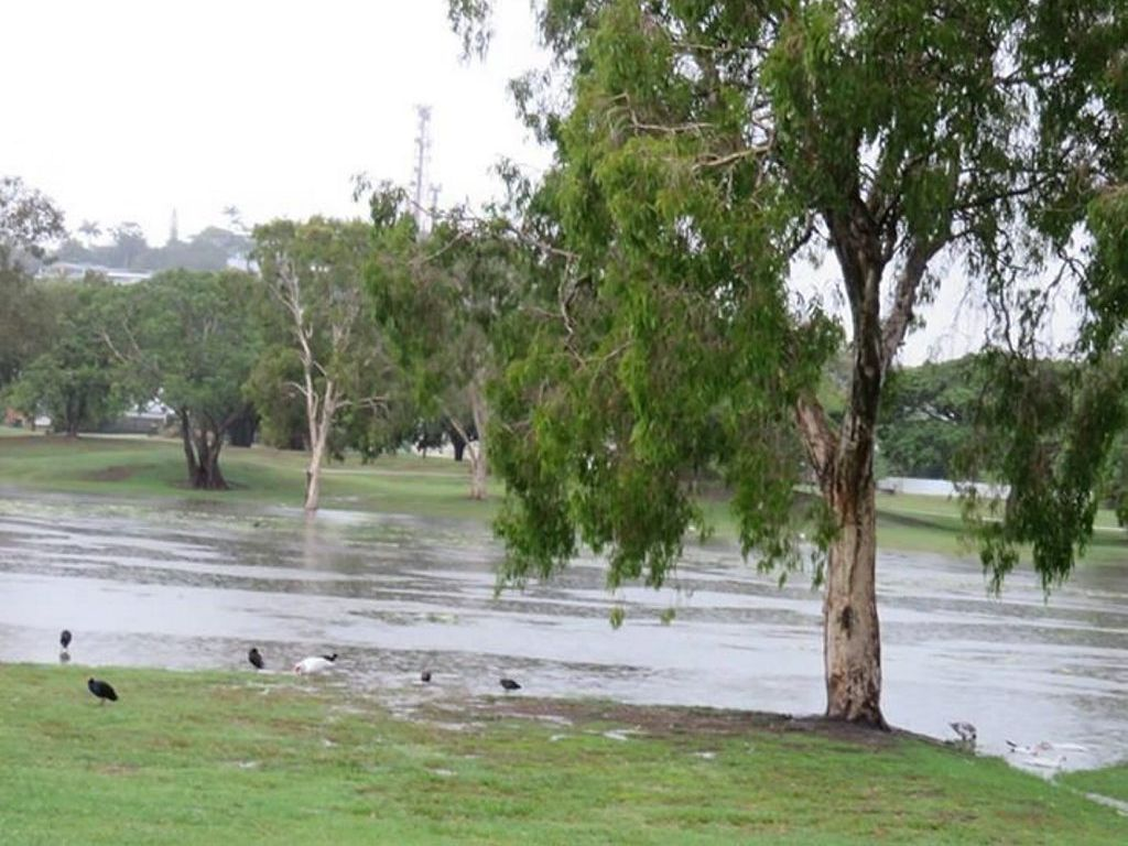 Robin Morgan took this photo of the Gooseponds Sunday after about 100mm were dumped on Mackay Photo: Contributed