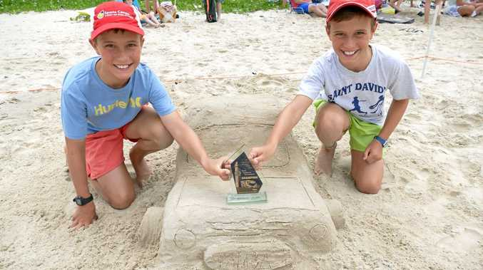 DRIVING FORCE: The winners of the senior section of the Yamba Rotary Fun Day sand modelling were identical twins James and William Smith, from Sydney.