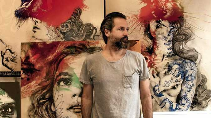 IN DEMAND: Spanish artists Gabriel Moreno with some of his artwork.