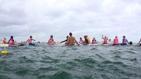 Images from the weekend memorial paddle out for Cole Miller at Mooloolaba Surf Life Saving Club.